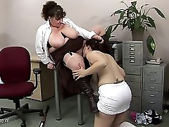 Big titted mature teacher fucks a hot student babe