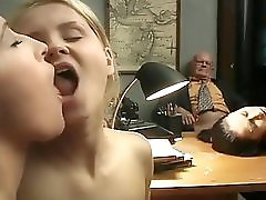 Perfect babe front of old man