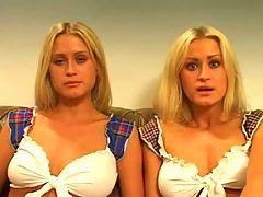 Amateur European Twins Share A Cock
