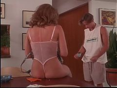Lad fills Kim Cattrall's pussy with his ropes of hot seed