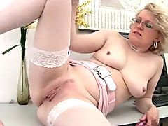 Blonde Mature and Her Dildo Masturbation