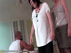 Sexy brunette sluts go crazy sucking cocks in a gangban