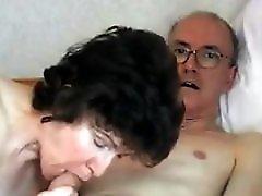 Grandpa's big cock attractive mature swallows it