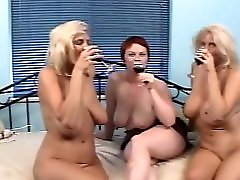 Lesbian Trio huge toys and triple fist