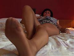 Erotic mom nylon footplay