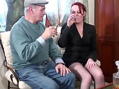 Red headed whore sucks and fucks a grandpas cock