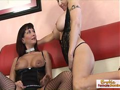 Milfs dike out while some guy jerks off watching them