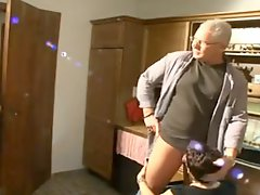 German granny in boots and stockings fucked by the plumbers
