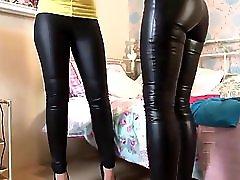 Two superhot Milfs playing in wet look leggings