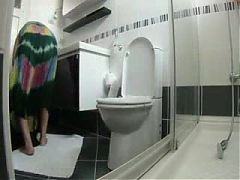 Great view of my mature mom in toilet Hidden cam