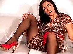 Leggy brunette in pantyhose JOI