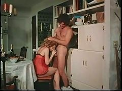 Retro redhead fucked in the dining room