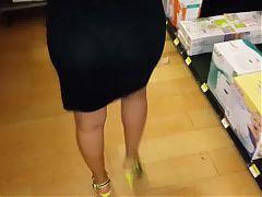 Candid Mature Ass See Through Panty Voyeur