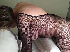Mom is cumming while wearing a black bodystocking MarieRocks