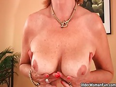Plump grandma fucks her toy boy&#039 s cock with her unshaven pussy
