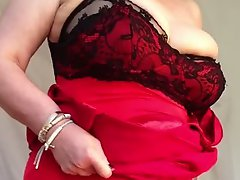 Sexy granny big tits shaved pussy stripping off red dress 1