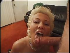 Short haired blonde milf sucks dick