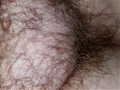 Wifes very hairy pussy laying on her side
