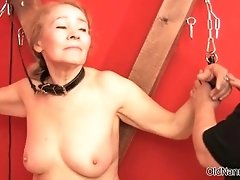 Nasty old lady gets her ass spanked by oldnannies