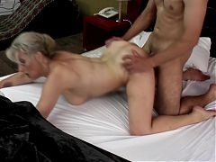 Sexy granny takes young cock in hairy vagina