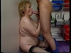 Blonde hairy granny masturbating and fucked
