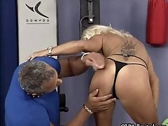 Nasty blonde whore gets her cunt fucked from behind by