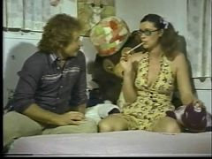 Teenage slut in glasses sucks dick and gets fucked