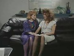 Retro Office Lesbians Pussy and Ass Licking Strap On