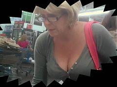 Blonde MILF Milk Juggs at WalMart!