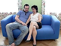 Amateur Hairy Mom Rides Young Hard Cock