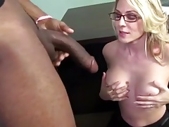 Blonde Milf sucks monster black cock