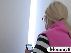 Mature stepmom catches teen fucking