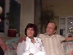 Older couple get naked and roll on the couch