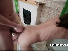 Raunchy mature slut gets her tight ass fucked hard by a