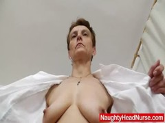 Nasty head nurse Rozi fingers her amazing piss hole
