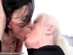 Nasty mature lesbians get horny making out with a young