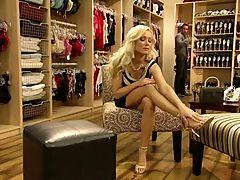 Hot elegant Diana chooses shoes foot fetish