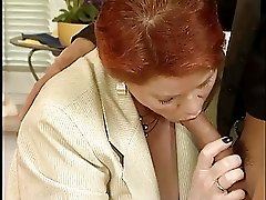 Busty Redhead German Mature Drilled By Young Guy