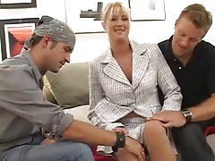 Busty MILF Bethany Sweet Fucks Two Young Guys