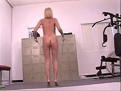 Hot naked blonde with perfectly round tits works out