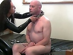 Kinky brunette in latex fucks dude