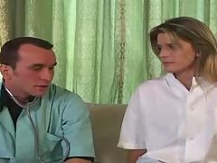 French doctor gives blonde a shot in the ass !