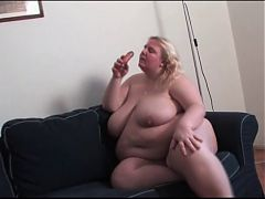 BBW undresses and masturbates