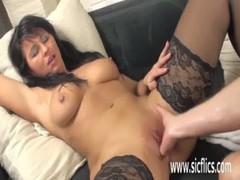 Hot brunette milf fisted by her boyfriend