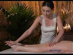 Massage Rooms Sexy blonde has her pussy filled with oily lesbian fingers