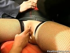 Busty big boobed old milf slut sucking cocks and gets b