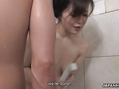 Mature Asian hoes cleans and drains the dude's meaty pipe