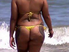 Candid spanish milf ass in micro bikini at beach 46