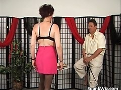 Slutty mature brunette gets big butt spanked hard by sp